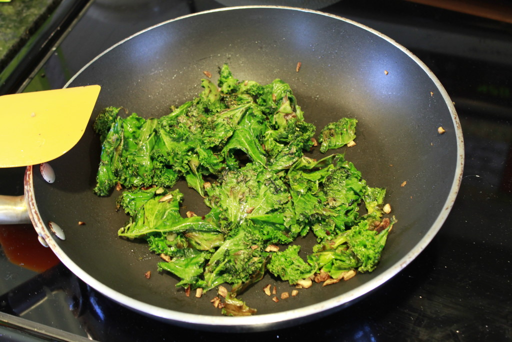 Sauteed Kale getting crispy